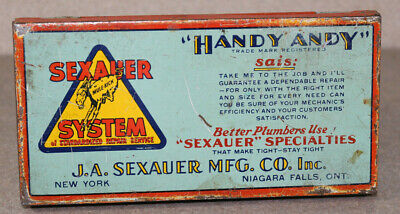 Vintage Handy Andy Sexauer System Metal Tin Hardware Box