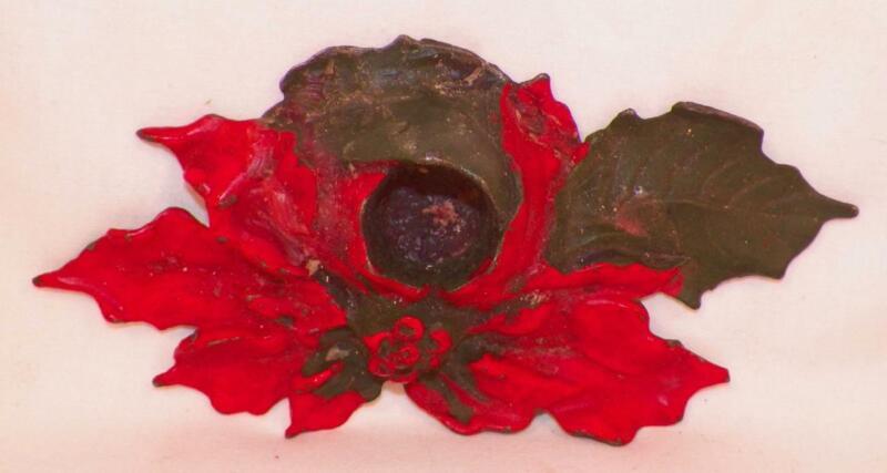Poinsettia Candle Holder Cast Iron Christmas Patd 10-31-1922 Art Deco Vintage