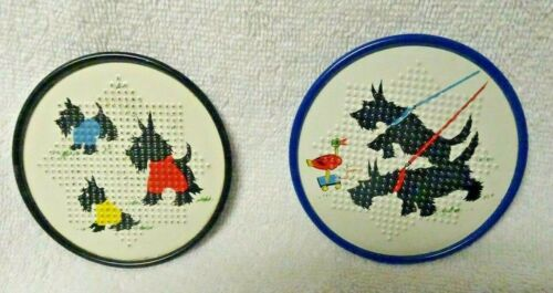 Scottie Scotty Dog Black And Blue Metal Coasters Set of Two