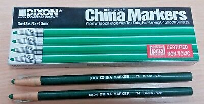 12 DIXON NEW GOOD QUALITY GREEN CHINA MARKERS / PENCILS WRITE ON GLASS PLASTIC