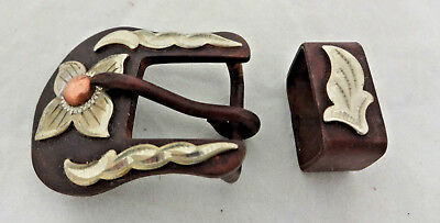 Brown Iron Floral German Silver Overlay 2 Piece Buckle Set Headstall 5/8 Western