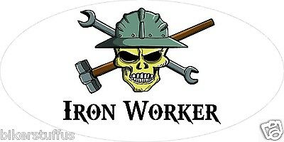 Iron Worker With Skull Helmet Sticker Hard Hat Sticker Laptop Sticker Toolbox