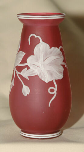 English Cameo Art Glass Vase Carved White Morning Glory on Pink  **LOOK**