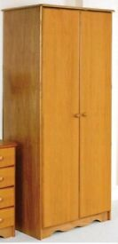 Brand new flat packed solid pine wardrobe & chest of drawers