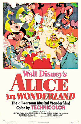 Alice in Wonderland Disney cartoon movie poster print #A14 on Rummage