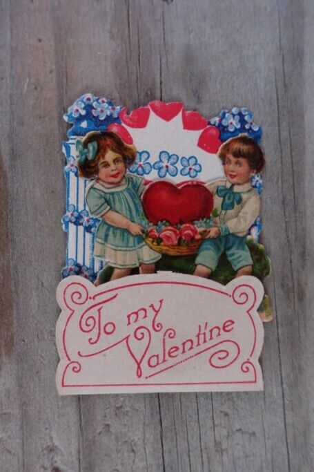 Antique Victorian 1920 Remember me kids Germany Stand-Up Valentine Greeting Card