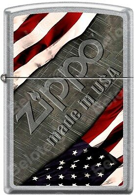 e78cbddf883 Zippo American Flag with Steel Background Made In USA Street Chrome Lighter  NEW