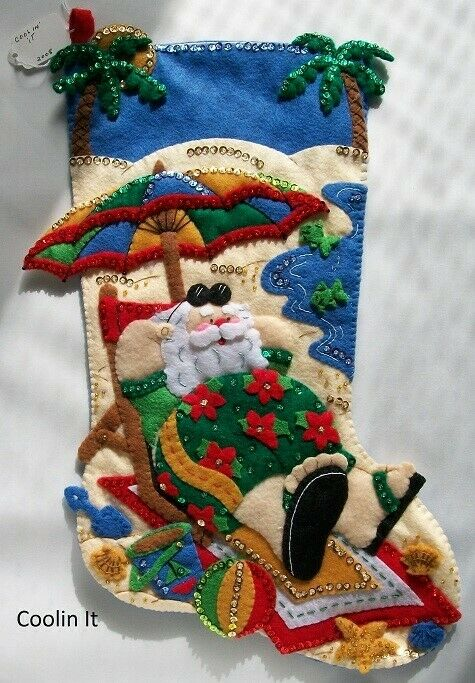 "NEW Handmade 18"" Bucilla Coolin It Felt Stocking"