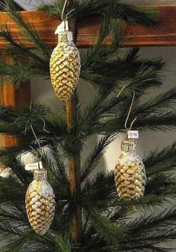 Set of 3  Small Snowy Golden Pine cone Blown Glass Christmas Ornaments POLAND