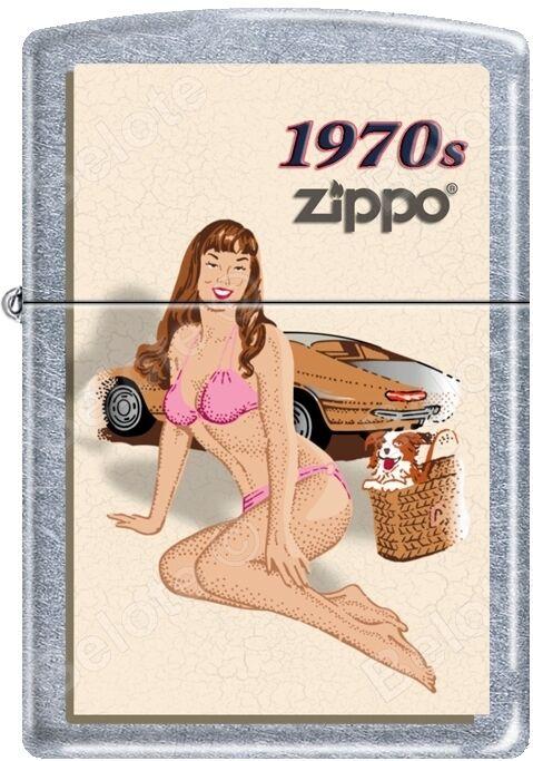 Zippo Windy Vintage Nose Art Pink Bikini Pinup 1970 Era Satin Chrome Lighter NEW