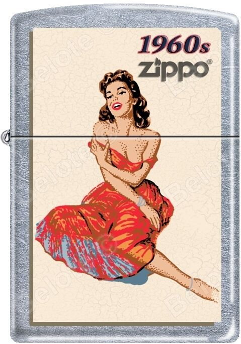 Zippo Windy Vintage Nose Art Red Dress Pinup 1960 Era Satin Chrome Lighter NEW