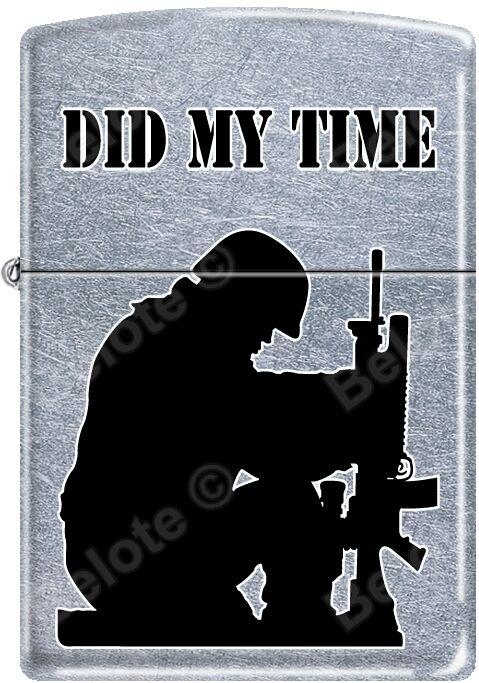 Zippo Did My Time Military Soldier Helmet Gun Street Chrome Lighter NEW Rare