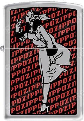 Zippo Windy Girl with Zippo Background Satin Chrome Windproof Lighter NEW RARE