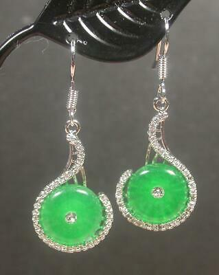 White Gold Plate CHINESE Icy Green JADE Earring Earrings Dangle Circle 100422