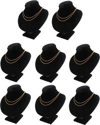 8pc 5.5h Black Velvet Jewelry Display Bust Necklace Case Chain Pendant Ja49b8
