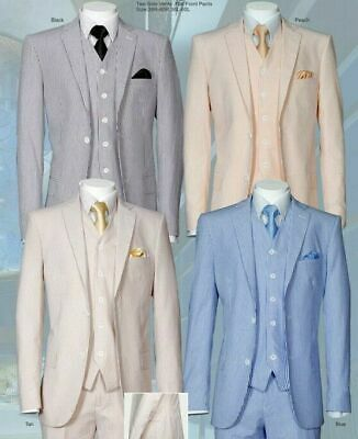 Executive Fit Striped Seersucker Suit 2-Button Single Breasted 3-PC w/Vest&pants