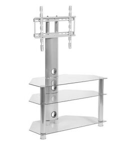 Clear Glass tv stand with mount bracket 32 to 50 inch LCD LED screen 400mm vesa