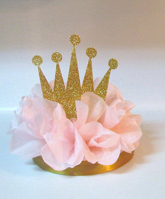 PRINCESS PINK GOLD TIARA CROWN CENTERPIECE BIRTHDAY PARTY BABY SHOWER DECOR
