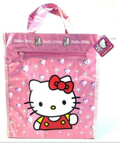 NWT Sanrio Hello Kitty Zipped Tote Bag Mesh Side Pocket Art Library Activities