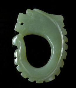 100-Natural-Hand-carved-Chinese-Hetian-ancient-Jade-Dragon-Qing-Dyn-Rare