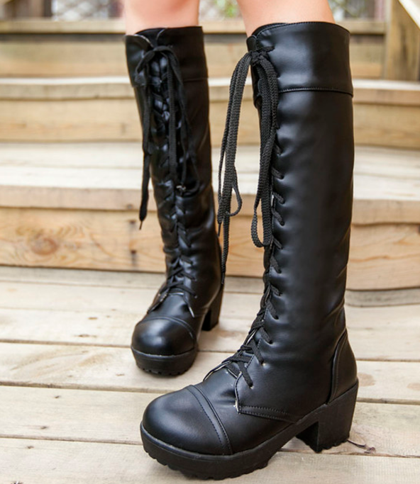 Details about Womens Platform Goth Punk Chunky Lace Up Military Punk Riding  Knee High Boots 3659406709e8