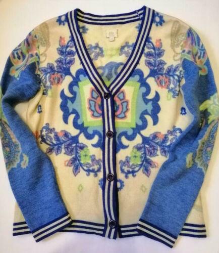 Vintage Cardigan Merino Wool Acanthus Blue Paisley Sweater Floral Pattern