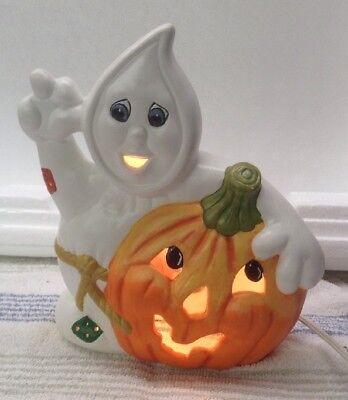 Vintage Homemade Halloween Light Up Ceramic Ghost with Jack-O-Lantern Pumpkin](Homemade Halloween Ghosts)