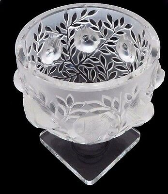 "LALIQUE "" Elizabeth"" Birds Among Branches SIGNED Crystal Bowl.Square Base. 5.5""H"
