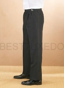 Adjustable-waist-Pleated-front-Men-039-s-Tuxedo-Pants-Sizes-from-28-to-64