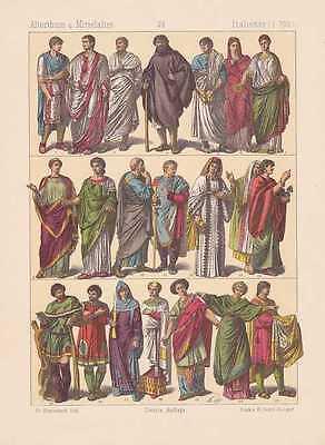 Italien Trachten Römer LITHOGRAPHIE von 1883 Römisches Reich