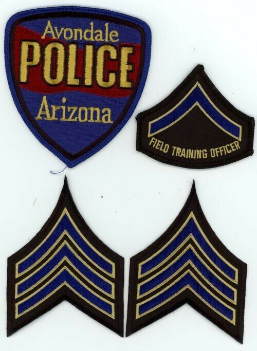 AVONDALE POLICE ARIZONA AZ WITH 2 SETS OF CHEVRONS AND AN FTO PATCH PATCH