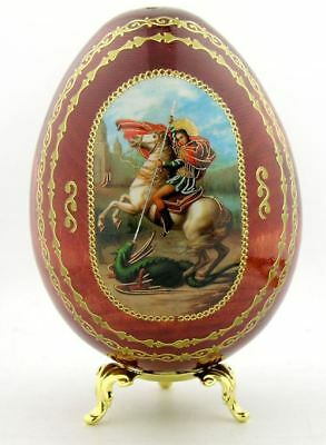 ( Saint St George Icon Wooden Egg with Gold Egg Stand 4 Inch )