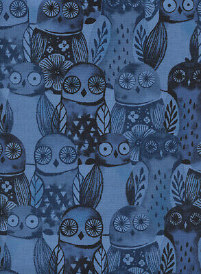 Cotton + Steel, Eclipse, Dark Blue Owls, sold by the FULL Yard, Quilting Fabric (The Steel Yard)