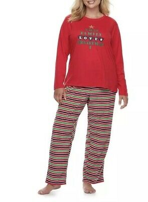 Family Pjs For Christmas (New Jammies For Your Families Women 2pc Pajama Set Xmas Top Microfleece Pant)
