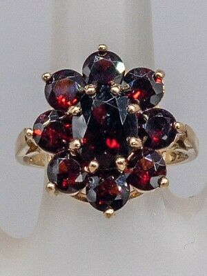 1940s Jewelry Styles and History Antique 1940s RETRO 5ct Natural Garnet 9k Yellow Gold CLUSTER Ring $195.00 AT vintagedancer.com