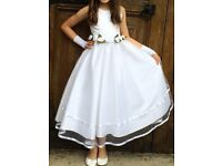 Long Dress Princess Party Communion Bridesmaid Wedding and Gloves Headband Crown