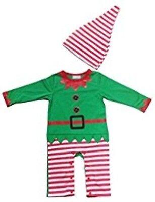 Swaroser Santas Lil Elf Costume Baby Christmas suits leotard Santa hat Santas Lil Elf