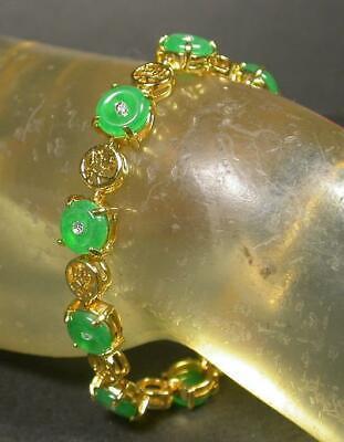 Chinese Yellow Jade Bracelet - Yellow Gold Plate CHINESE Green JADE *Fu* Circle Donut Bangle Bracelet 100237