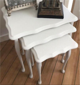 REDUCED PRICE- Set Of 3 Vintage Upcycled Shabby Chic Side Tables From smoke & Pet Free home