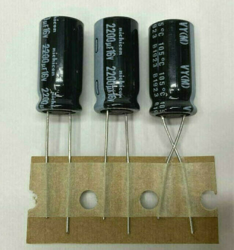 3x   Nichicon VY 2200uF 16v 105C (10 x 20mm) GENUINE Elec Capacitor USA Seller