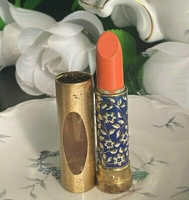 VINTAGE HELENA RUBINSTEIN LE LIPSTICK FLORAL GOLD METAL TUBE ORANGE NEW