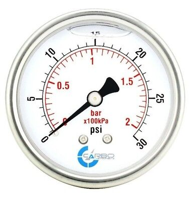 2-12 Pressure Gauge Stainless Steel Case Liquid Filled Back Mnt 0-30 Psi