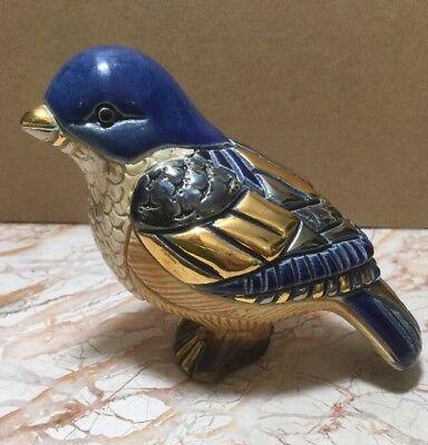 NEW DE ROSA RINCONADA BLUE BIRD HAND PAINTED FIGURINE GOLD ENAMEL DEROSA