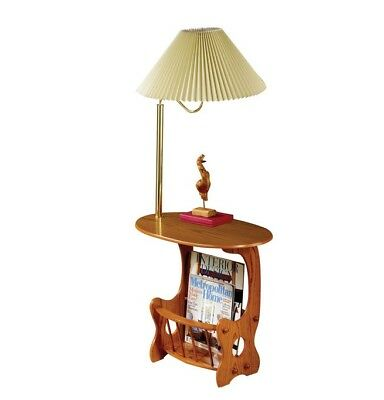 Warm Oak Finish Brass Lamp Magazine Accent Table by Coaster 4501