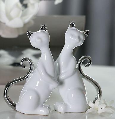Katze, Schwanz Und Ohren (46125 Figur Katze Milly Keramik weiß glasiert mit silbernem Schwanz und Ohren )