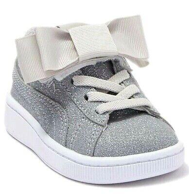 New Girls Puma Vikky v2 Ribbon Glitz Kids Trainer Shoe Silver UK 10 Infant