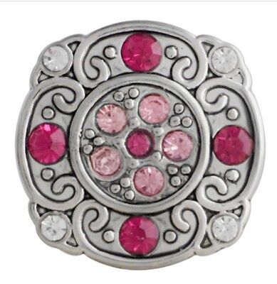 Square Silver Pink Clear Rhinestone 20mm Snap Charm For Ginger Snaps