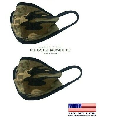 2 Pack Face Protective masks(Organic Cotton Reusable Washable Camouflage Army
