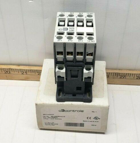 NEW C3CONTROLS 25 AMP CONTACTOR 3 POLE 120 VAC COIL 1 NO 15 HP 300-S25N30XAD10