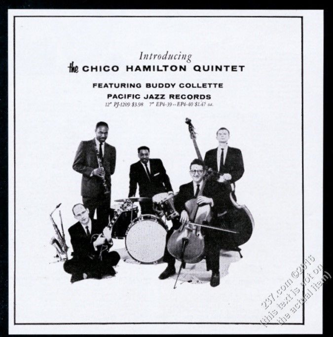 1956 Chico Hamilton Quintet with Buddy Collette photo Pacific Jazz print ad